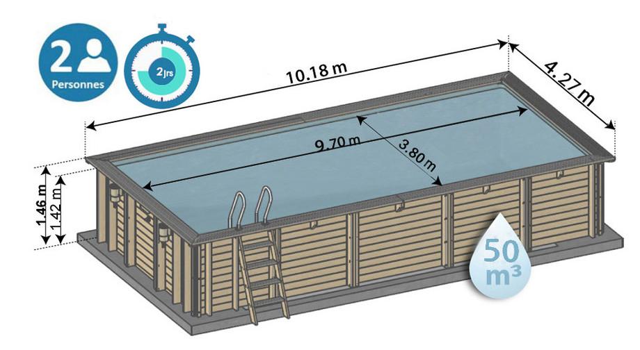 dimensions piscine bois mint sunbay