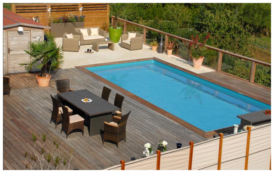 piscine bois rectangle Cardamon par Sunbay en situation