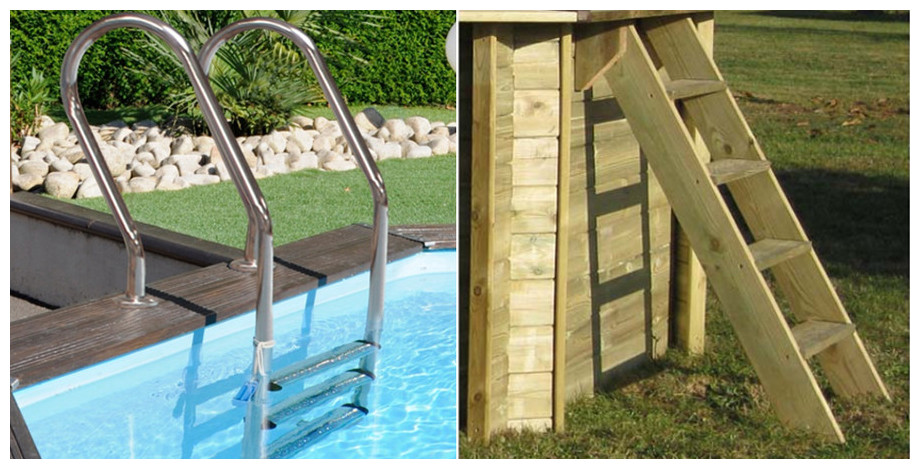 échelle piscine bois rectangle sunbay cardamon