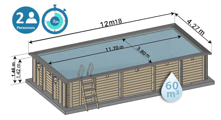 dimensions de la piscine bois cardamon sunbay