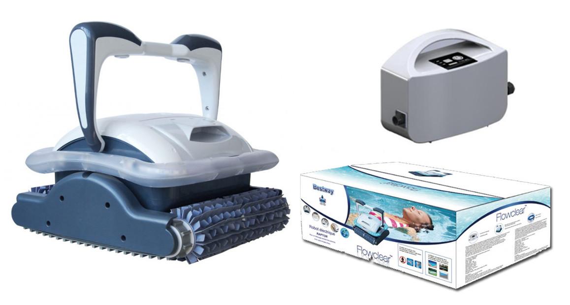 contenu de la boîte du robot piscine raptor bestway