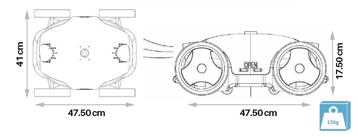 dimensions du robot piscine falcon bestway