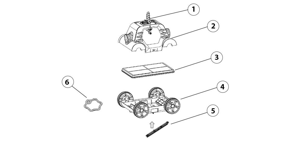 contenu du robot piscine thetys bestway