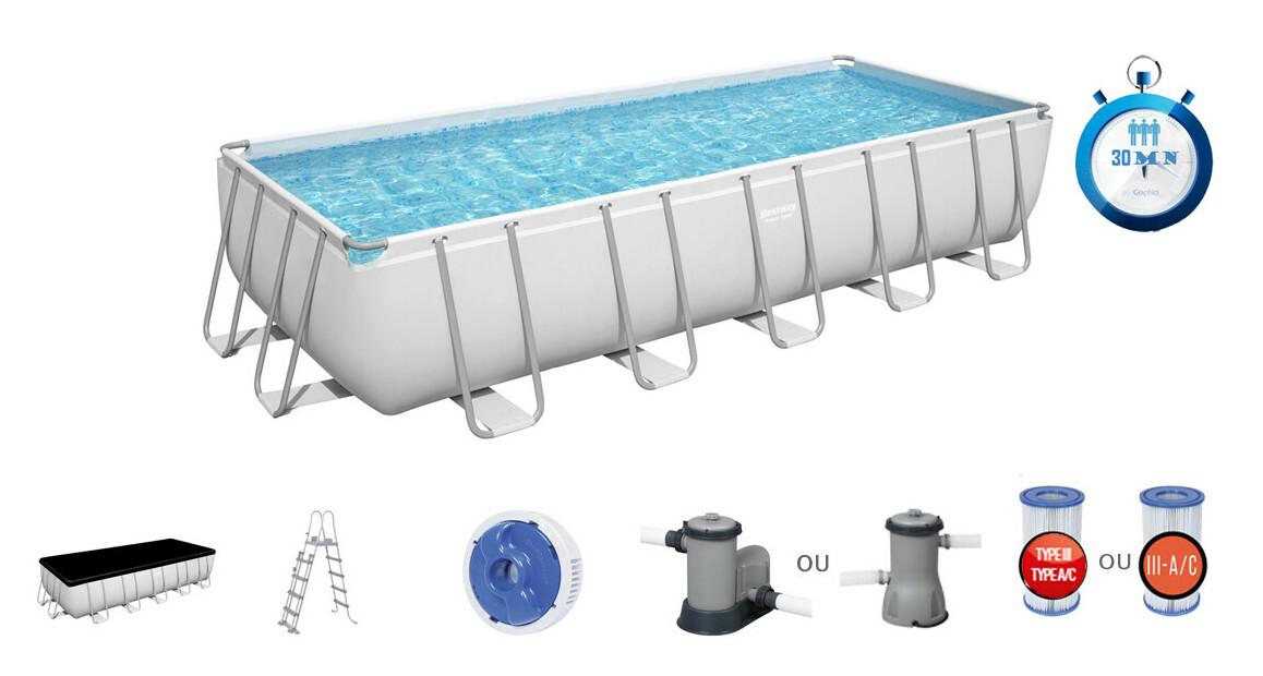 caractéristiques et équipement de la piscine tubulaire bestway power steel rectangle grise