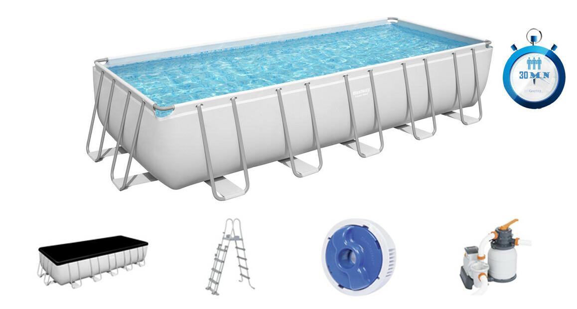 caractéristiques et équipement de la piscine tubulaire bestway power steel rectangle grise filtre