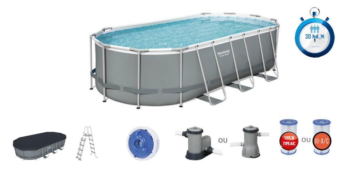 caractéristiques et équipements de la piscine tubulaire power steel bestwaygrise ovale