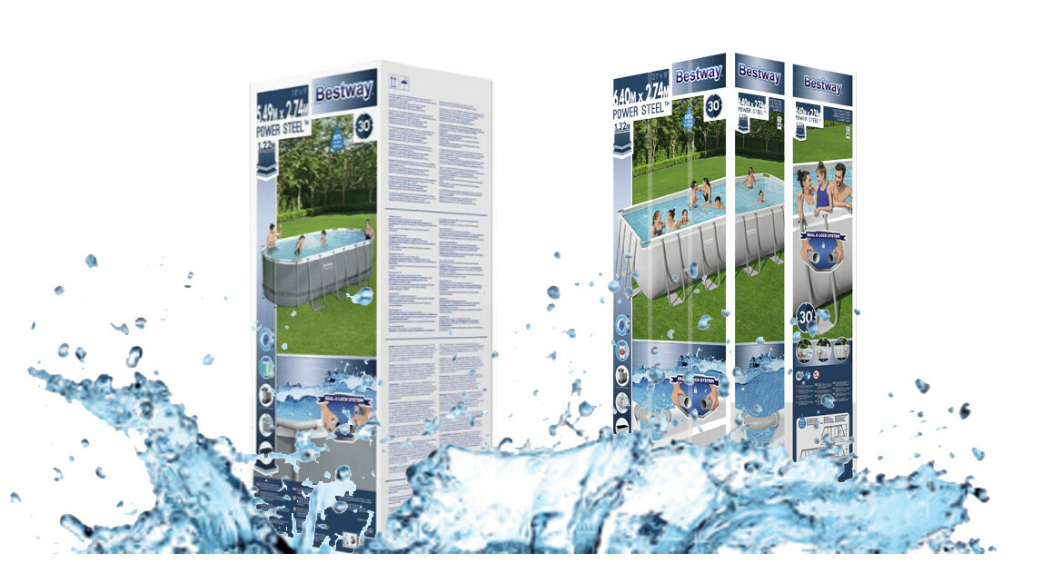 Package de la piscine hors sol gonflable bestway power steel grise