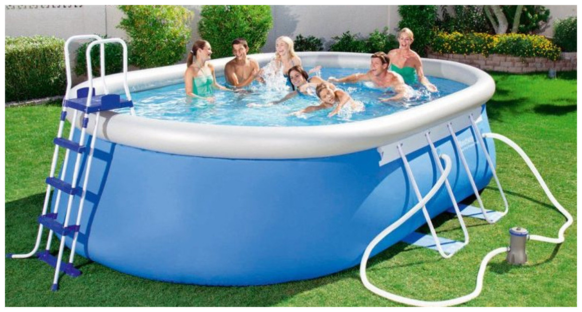 piscine hors sol autoportante fast set pool par Bestway en situation