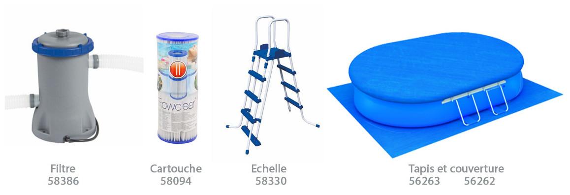 équipement fournis avec la piscine bestway fast set pool