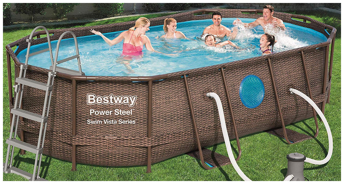 piscine power steel swim vista ovale en situation