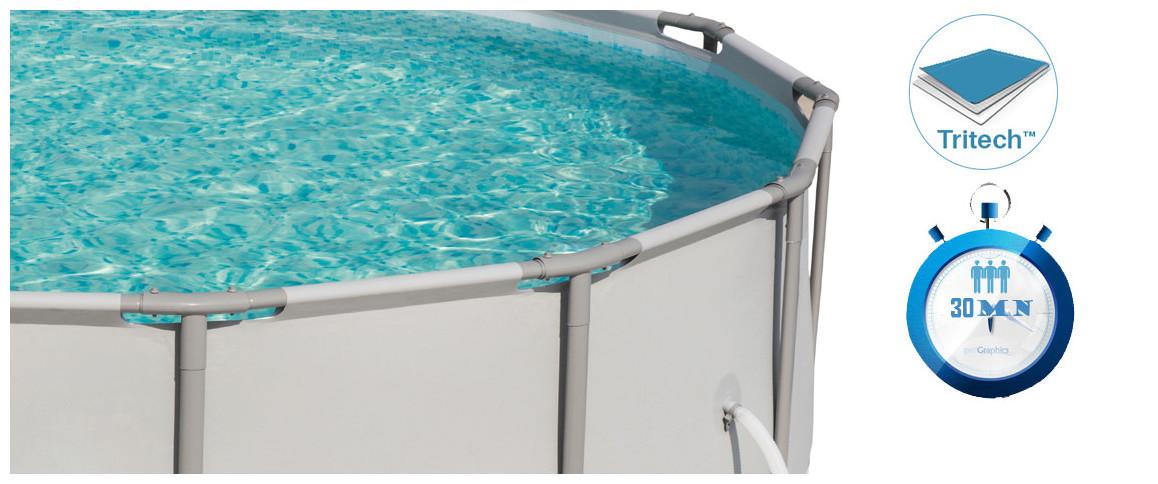 détails de la piscine hors sol bestway ronde power steel frame