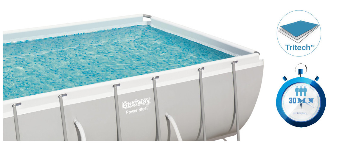 détails de la piscine hors sol bestway rrectangle power steel frame