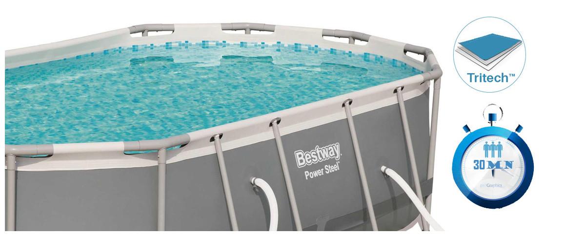 détails de la piscine hors sol bestwayovale power steel frame