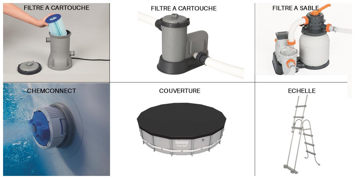 équipements de la piscine hors sol steel frame par bestway