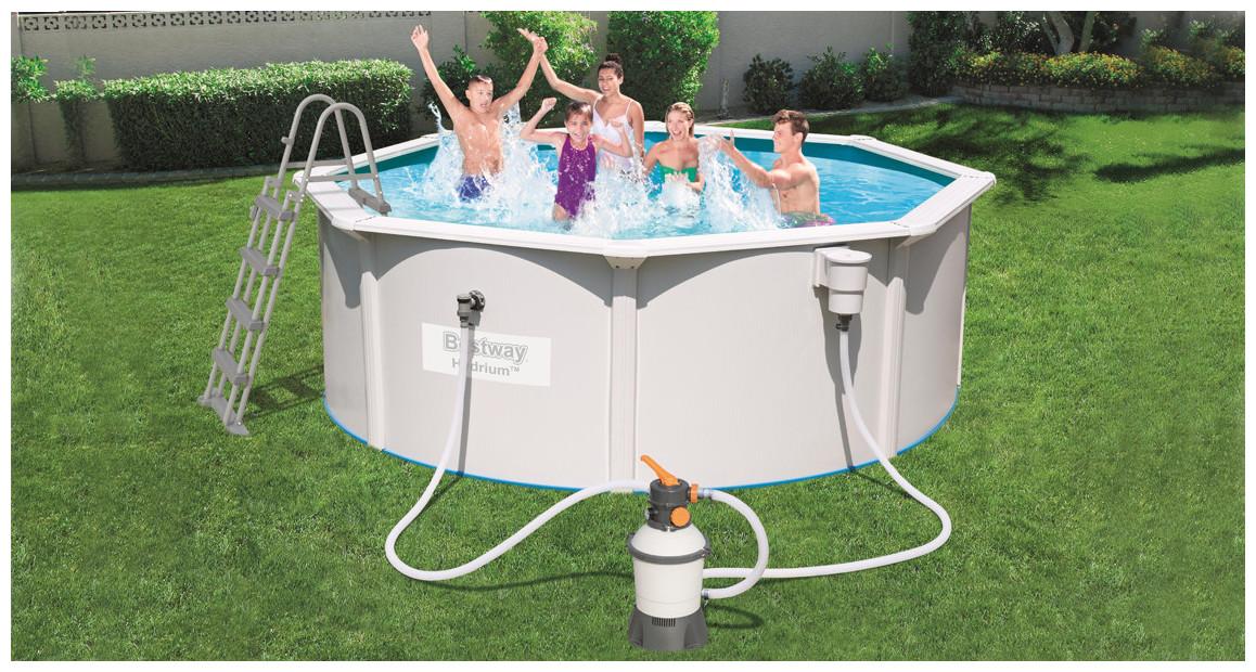 piscine hors sol tubulaire hydrium bestway en situation