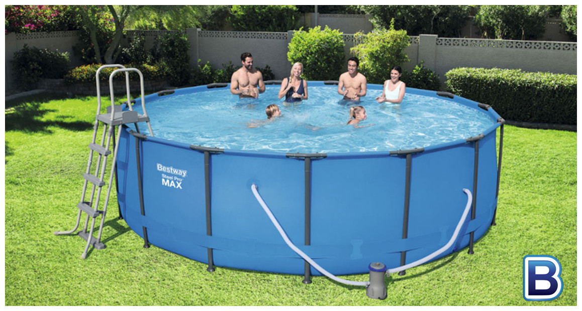 piscine hors sol tubulaire bestway steel pro max en situation