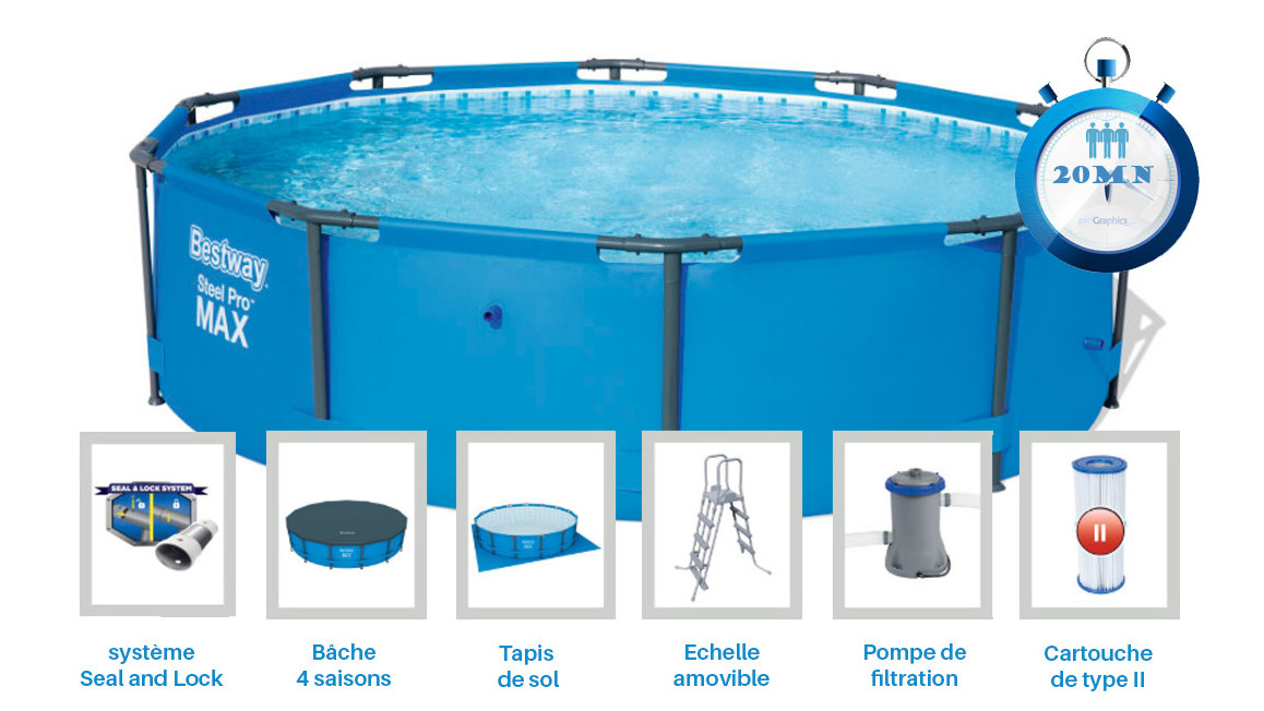 équipement de la piscine tubulaire bestway steel pro max