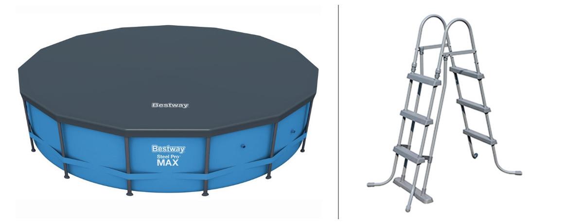 bâche et échelle de piscine hors sol bestway steel pro max