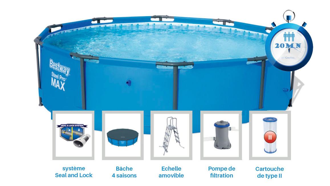 équipement de la piscine bestway power steel pro max