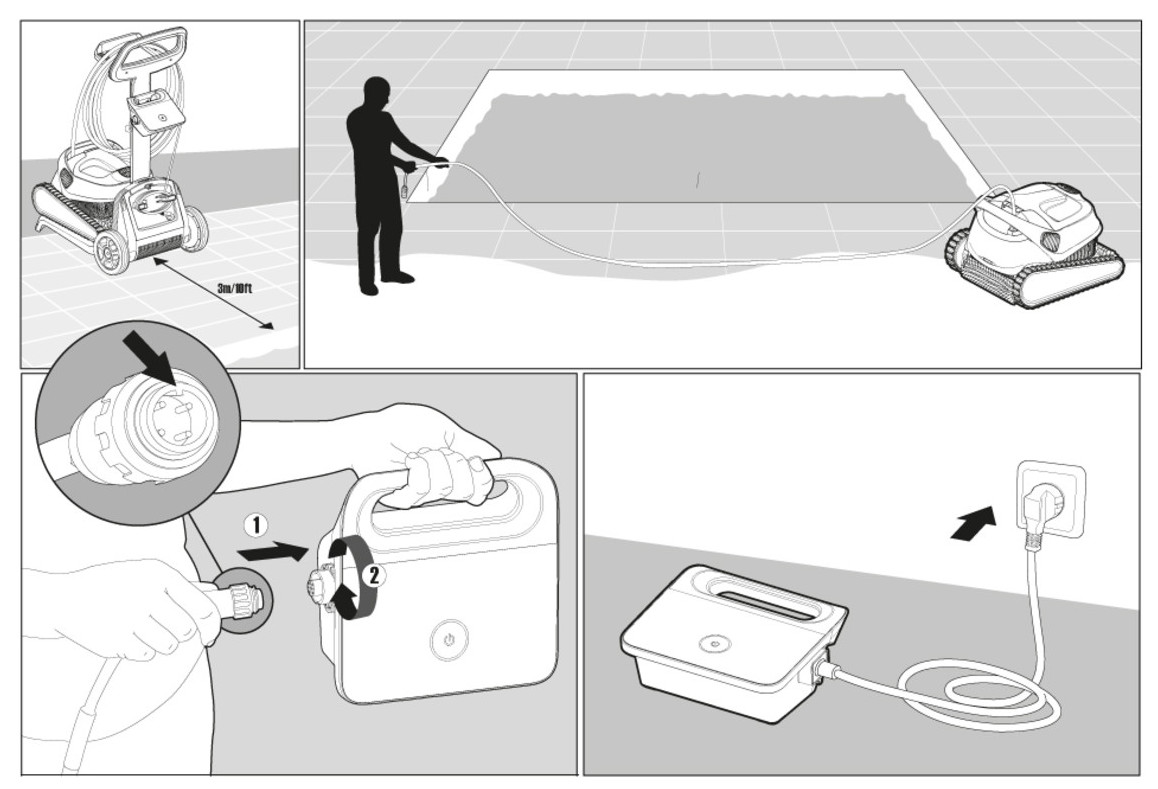 installation du robot de piscine Dolphin t25