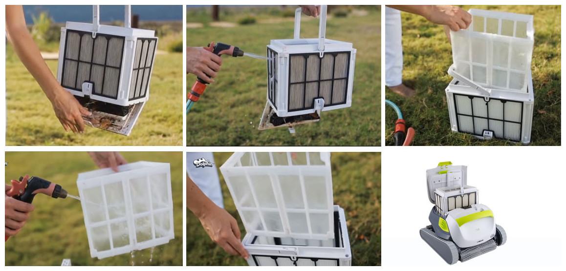 nettoyage du filtre multicouches du robot dolphin t35