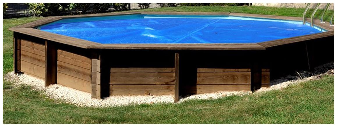 bâches à bulles gre pour piscine bois sunbay en situation