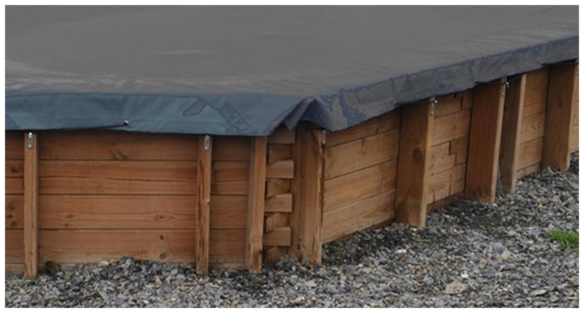 zoom sur la bâche hiver opaque pour piscine bois sunbay