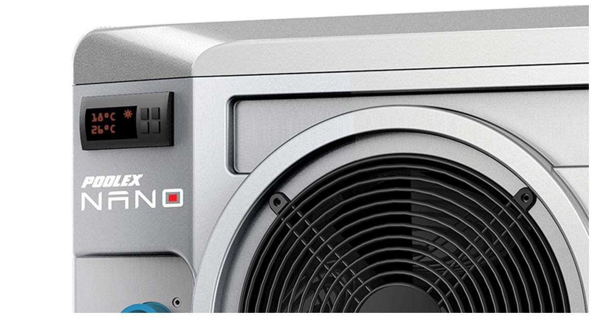 zoom sur la pompe à chaleur nano silver poolex