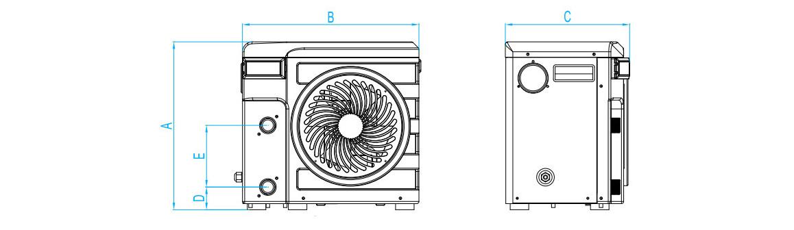 dimensions de la pompe à chaleur nano silver