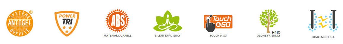 logo caractéristiques de la pompe à chaleur Triline Selection