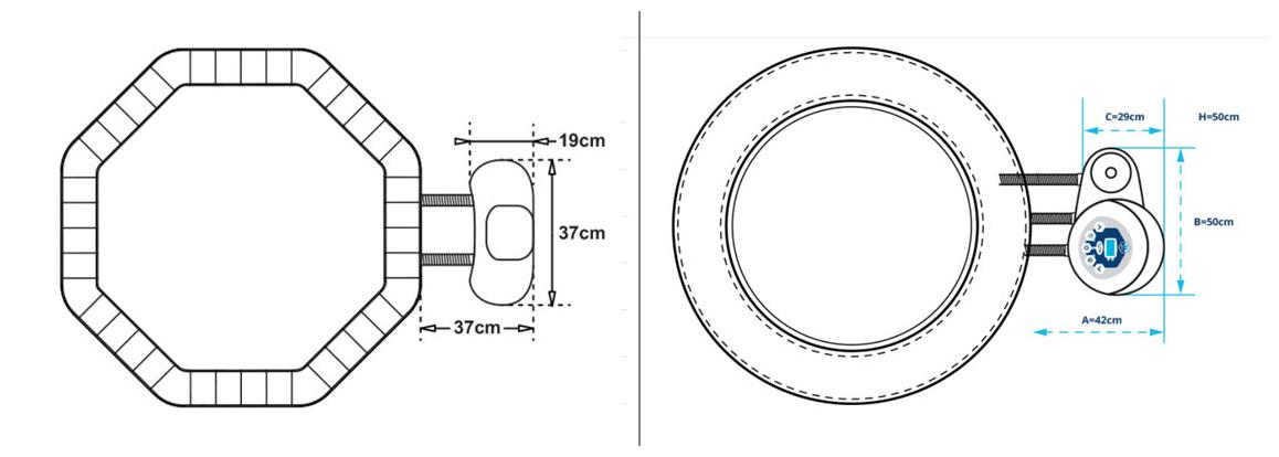 dimensions du bloc moteur des spas portable octopus et vita premium netspa