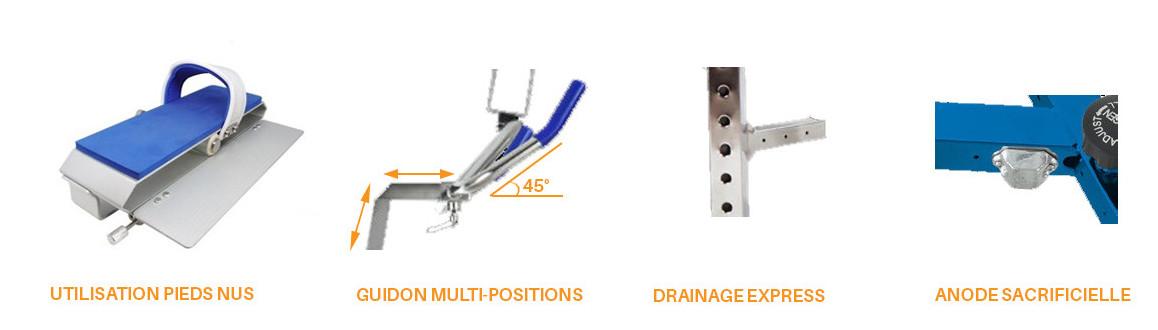 caractéristiques de l'aquabike en aluminium wr3 air par waterflex