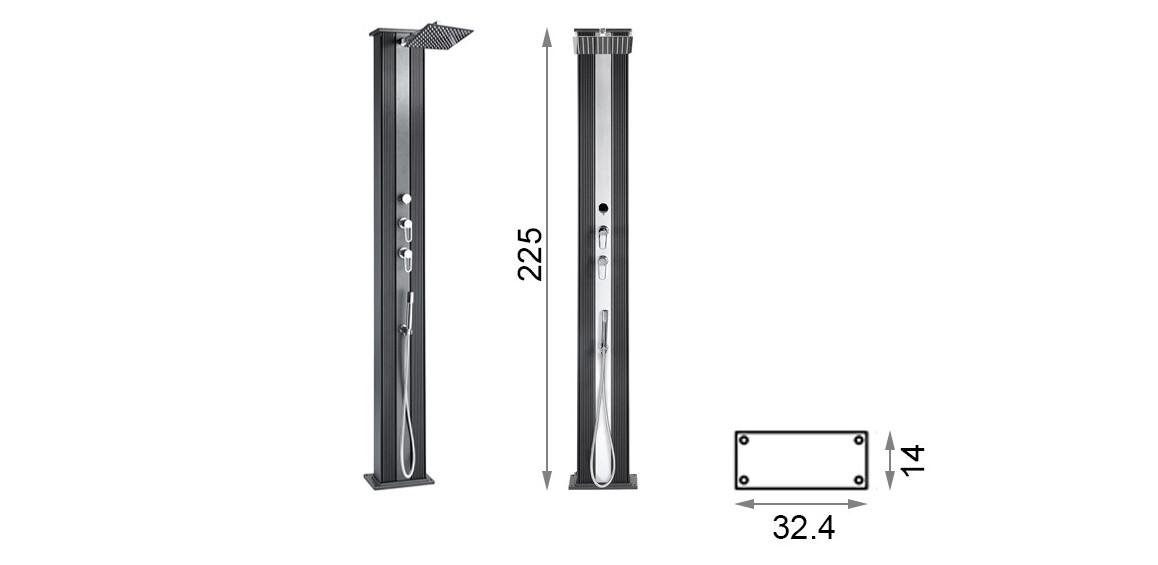 dimensions de la douche solaire dada straight