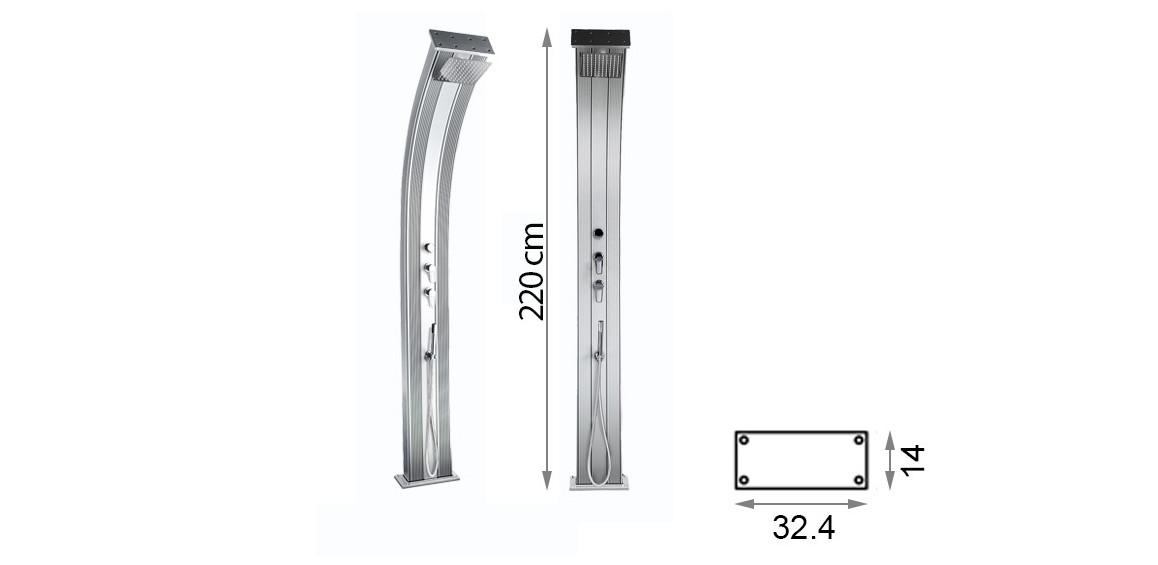 dimensions de la douche hybride dada curve en situation