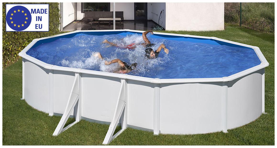 piscine hors sol wet gré acier blanc en situation