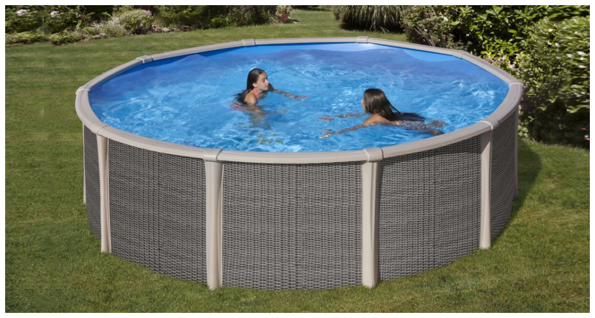 kit piscine hors sol fusion aspect rotin en situation