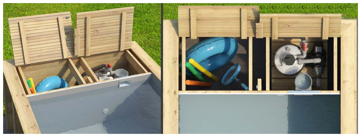 coffre de rangement de la piscine bois Proswell Pool and box