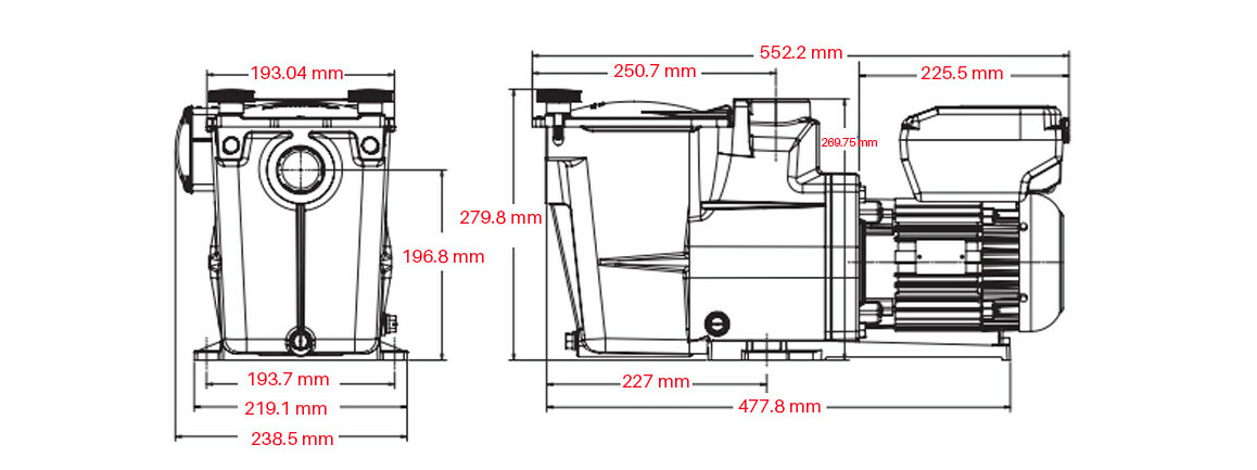 dimensions de la pompe de filtration à vitesse variable Super Pump® VSTD Hayward