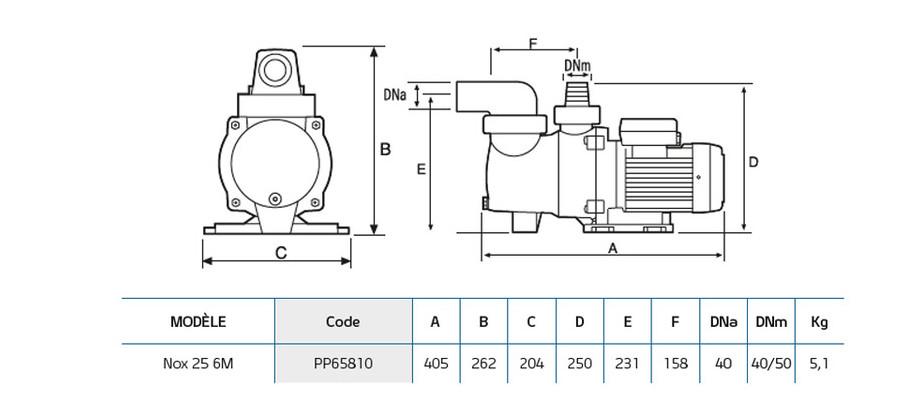 dimensions de la pompe de filtration nox 25 6m