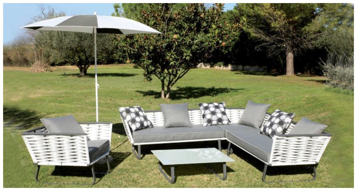 salon de jardin en résine tressée plate blanc et gris horizon hémisphère