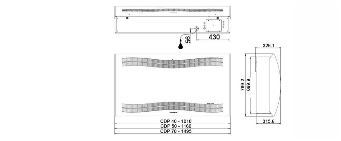 schéma de dimensions du déshumidicateur pour piscines et spas teddington cdp