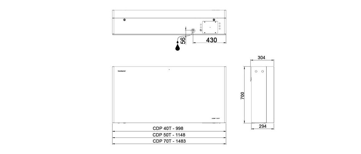 schéma des dimensions des déshumidificateurs teddington cdp
