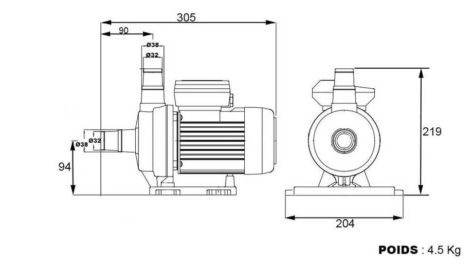 dimensions et poids de la pompe de filtration de piscine Basic by ESPA
