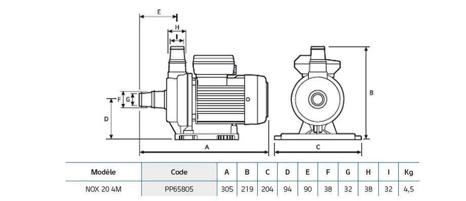 dimensions de la pompe de filtration nox 204 m