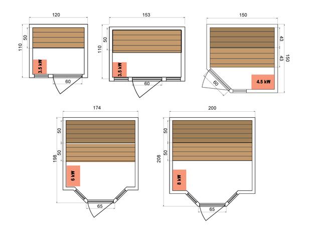 Zen - Sauna vapeur traditionnel - dimensions cabines