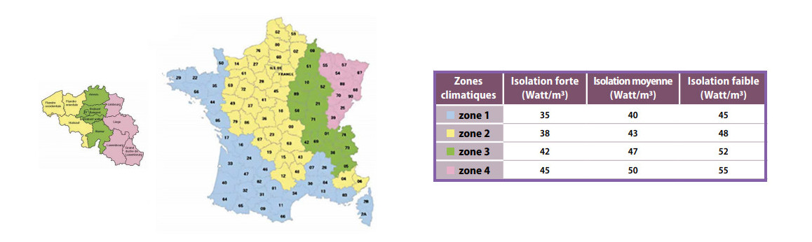 isolation thermique par zone géographique