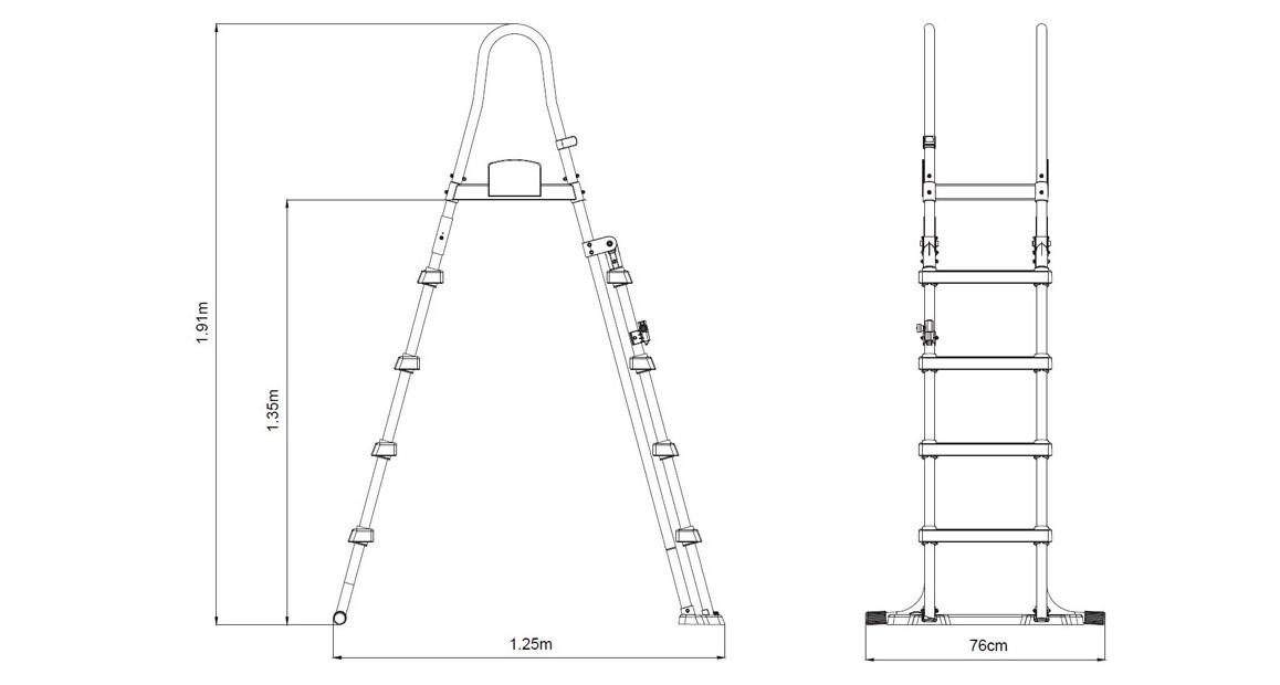 dimensions de l'échelle pour piscines hors sol bestway 132 cm