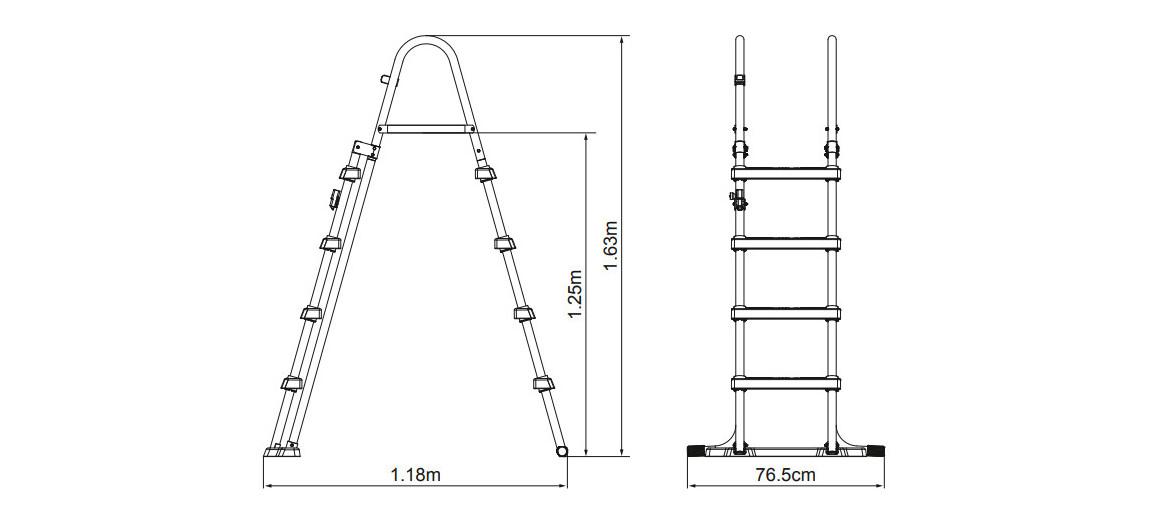 dimensions de l'échelle pour piscine hors sol bestway 122 cm