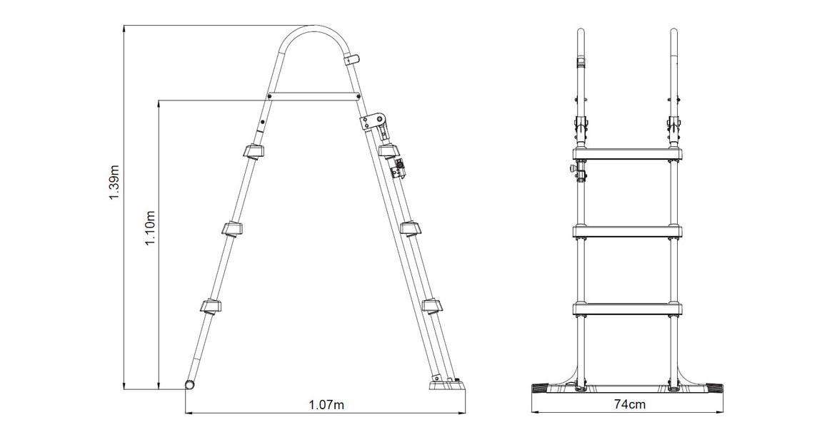 dimensions de l'échelle de sécurité 107 cm pour piscine hors sol bestway