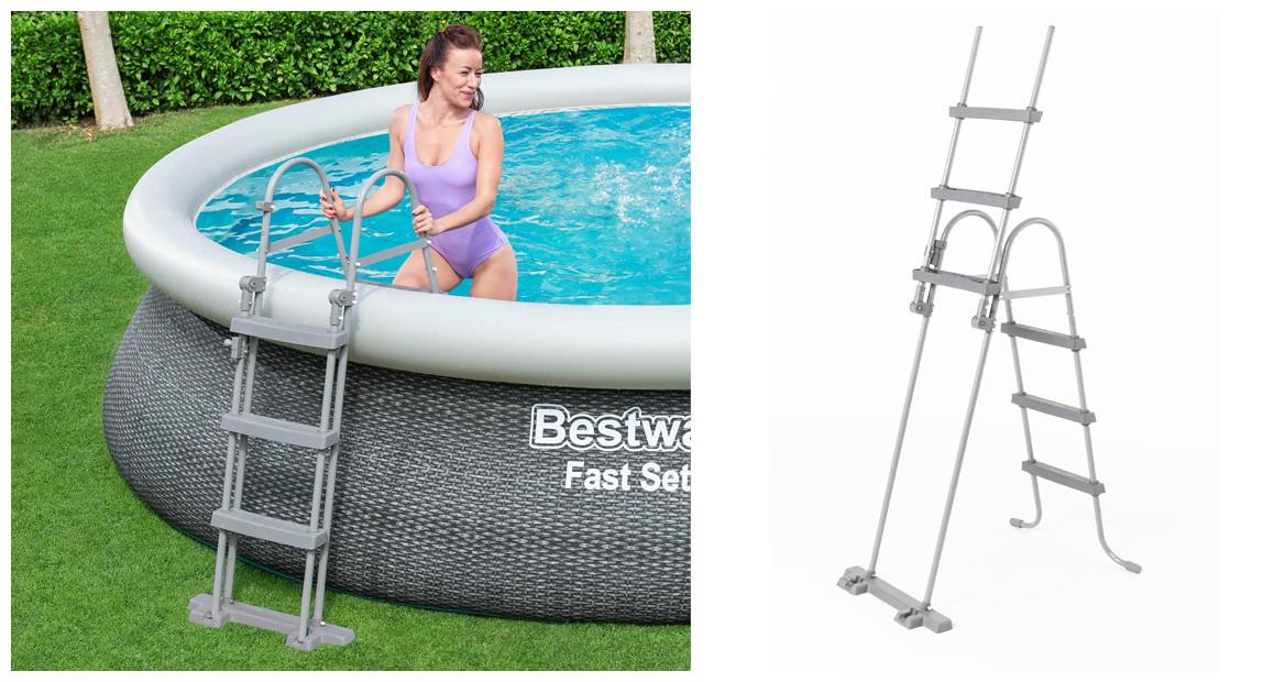 détail de l'échelle de sécurité de piscine bestway 107 cm